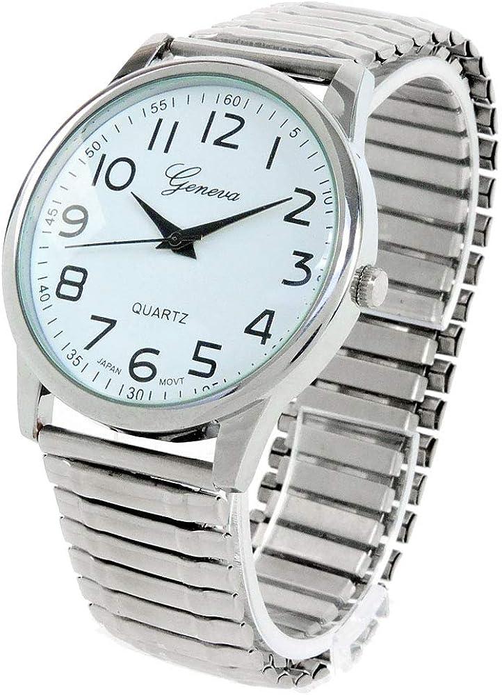 Reloj de Pulsera Plateado con Correa elástica fácil de Leer