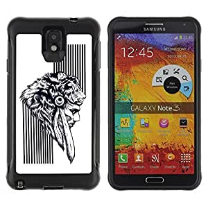 Hybrid Anti-Shock Defend Case for Samsung Galaxy Note 3 / Native American Warrior
