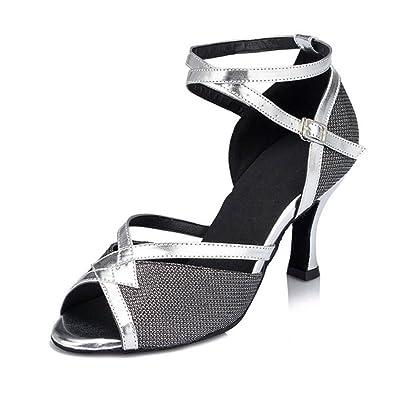 Meijili Women's Shoes Salsa Tango Latin Modern Ballrom Dance Shoes Black UK 7 5uBfmDMK