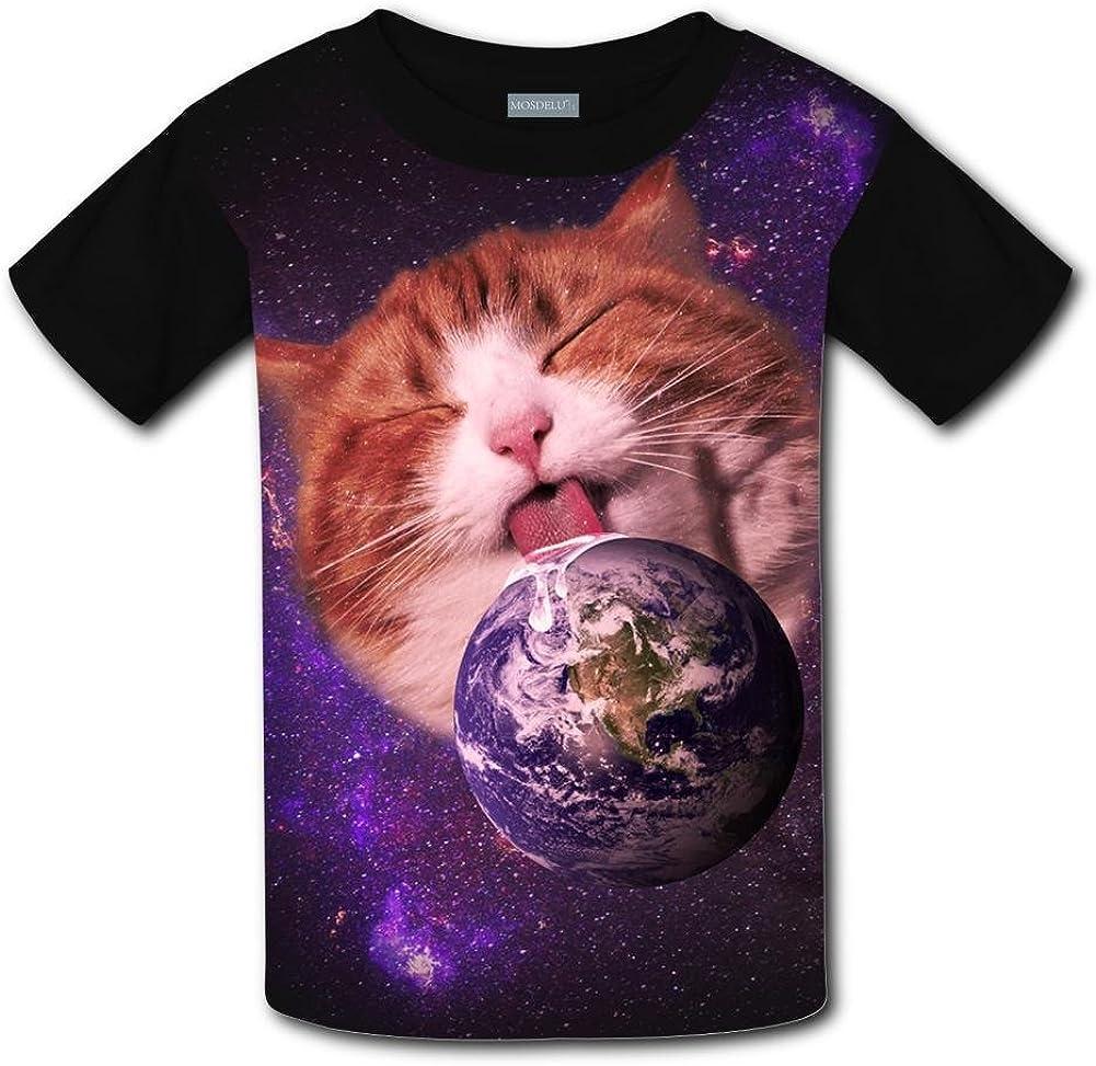 Shirts Short Sleeve Kids Tee XiuHongShangMAo Unisex Youth 3D Space Lick Cat 3D Printed T