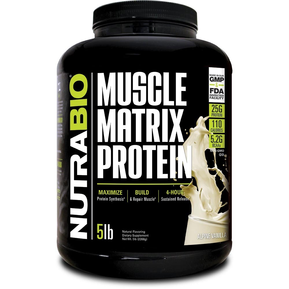 NutraBio Muscle Matrix - Whey Protein Blend (Vanilla, 5 Pounds)