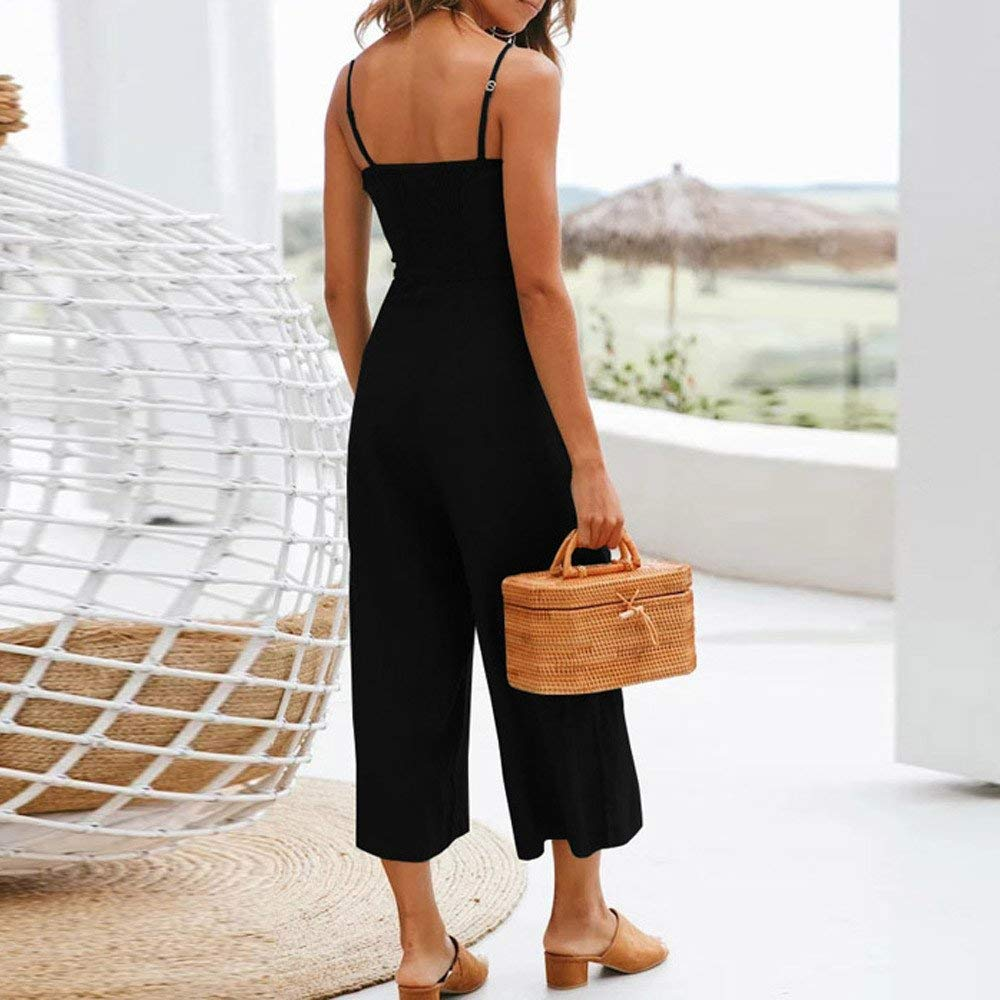 GWshop Ladies Fashion Elegant Jumpsuit Women Jumpsuits Elegant Wide Leg Sleeveless High Waisted Summer Pants Black M by GWshop (Image #2)
