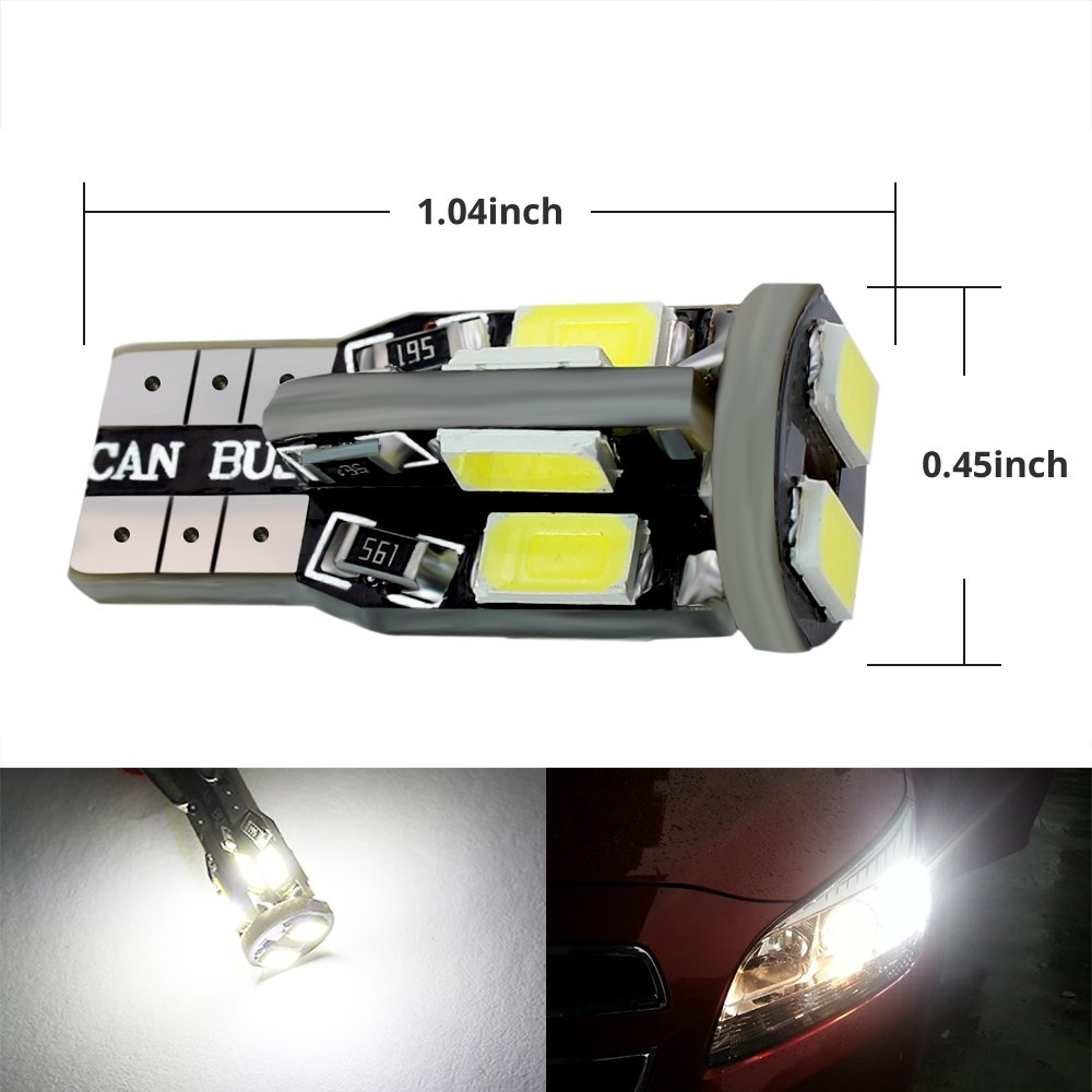 10 x T10-3030-6SMD WHITE Boodled 10x Extremely Bright 3030 Chipset LED Canbus Error Free Bulbs for Car Interior Dome Map Door Courtesy License Plate Lights Compact Wedge T10 168 194 2825 Xenon White