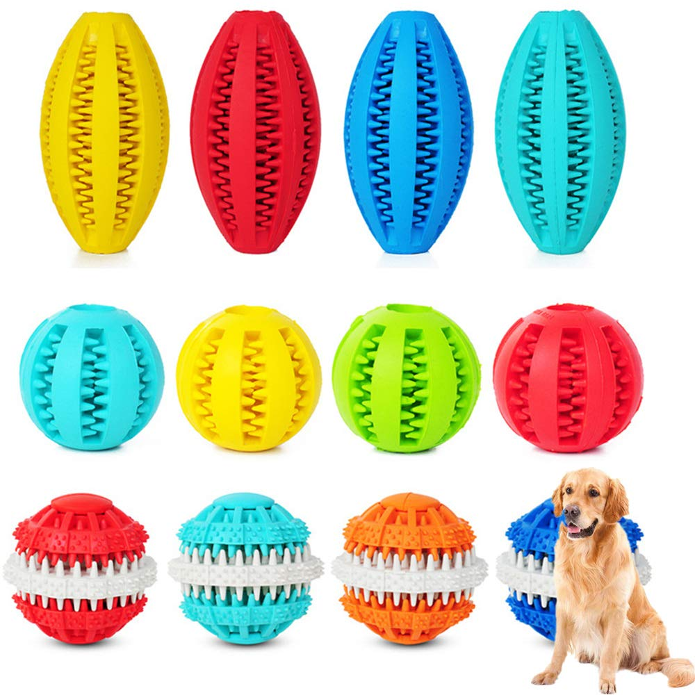 NOBGP 12 Pcs Dog Ball Toys for Aggressive Chewers Teething Cleaning Dental Treat Bite Resistant Durable Natural Soft Bouncy Rubber Ball for Pet IQ Training Chewing