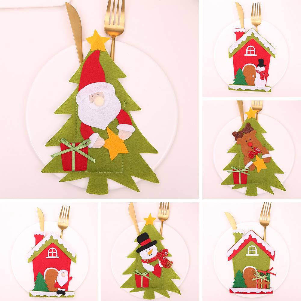 CHoppyWAVE Cutlery Pouch, Christmas Tree House Santa Elk Snowman Xmas Dinner Table Decor Spoon Knife Pouch - 4# by CHoppyWAVE (Image #8)
