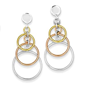 .925 Sterling Silver 38 MM Polished Flash Gold Plated Circle Dangle Post Stud Earrings
