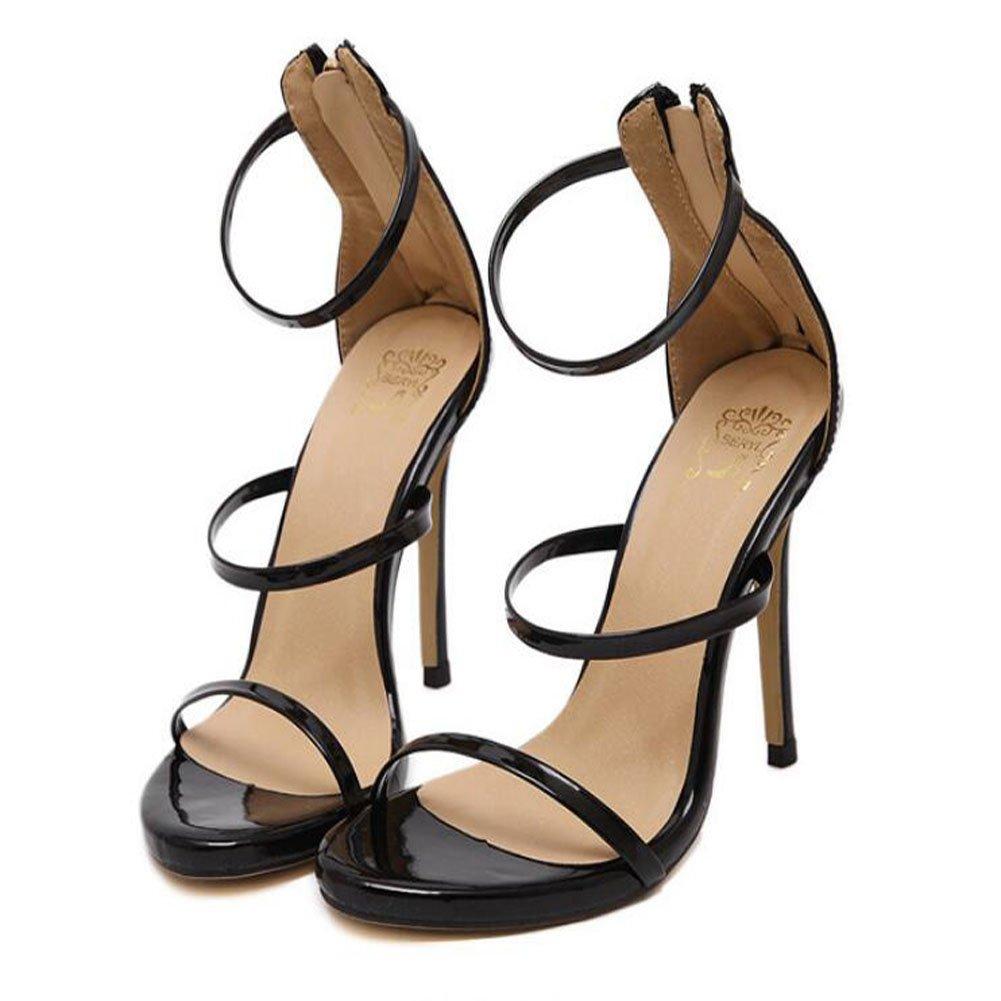 GAOLIXIA Tacones Altos de Las Nuevas Mujeres del Verano de Tacón Alto Perforado Sandalias de Punta Abierta Zapatos de Moda 4 Colores (Color : Black, Tamaño : 35) 35|Black