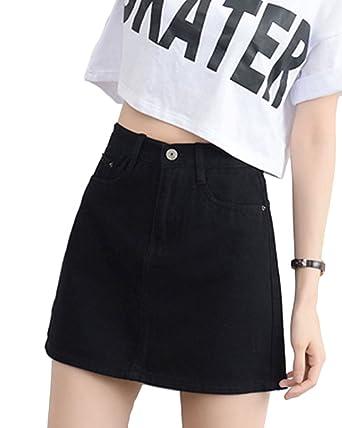 eaceb13a7 PengGeng Womens Solid Color Mini Jean Dress A Line Wrap Denim Skirt: Amazon. co.uk: Clothing