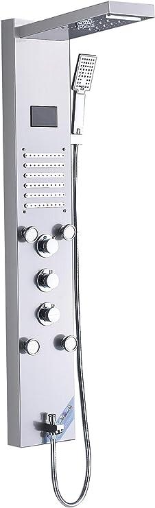 Saeuwtowy LED Panel de Ducha Con Cascada y Ducha de Lluvia Columna de Ducha Hidromasaje Ducha Moderna 5 Función Acero Inoxidable con Pantalla LCD para Baño: Amazon.es: Bricolaje y herramientas