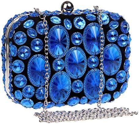 LKJASDHL 光沢のあるダイヤモンドディナーバッグレディースパーティードレスクラッチレディーバッグディナーバッグチェーンスモールスクエアバッグバンケットハンドバッグカジュアルフォーマルエブリデイバッグ (色 : 青)