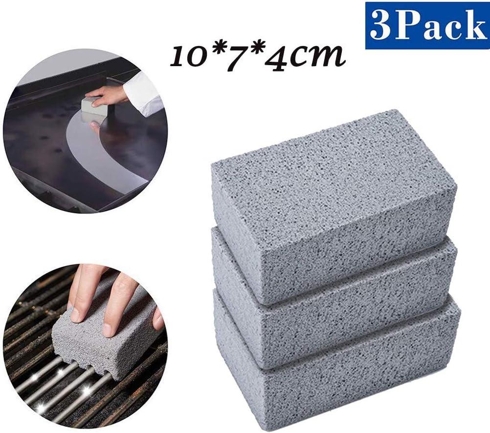 (우리는 주식에서)3 개 과자 굽는 번철 그릴 청소 벽돌 블록 생태 철판 | 그릴 청소기 벽돌 DE-SCALING 돌 청소 제거를 위한 얼룩 바베큐 스크레이퍼 철판구이클리닝 돌(회색)