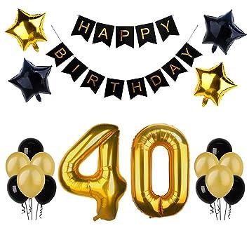 40.o kit de decoraciones de la fiesta de cumpleaños, Bandera del Feliz Cumpleaños, 40.ª Globos de Número de Oro, Globos de estrellas de látex, ...