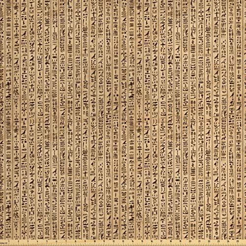 Ambesonne Egyptian Fabric by The Yard, Ancient Hieroglyphs Grunge Pattern on Stripes Archeology History Language, Decorative Fabric for Upholstery and Home Accents, 1 Yard, Sand Brown - Stripe Fabric Upholstery Outdoor