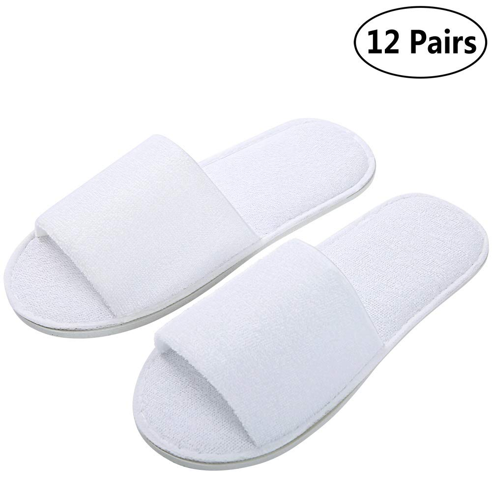 Open Toe Terry Spa Slippers, Hotel Slippers For Men and Women 12 Pack by Queenmore