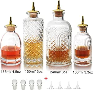 Bitters Bottle for Cocktails - Glass Bitters Bottle with Stainless Steel Dash Antique Design Professional Grade Home Ready Restaurantware - BTSET0001