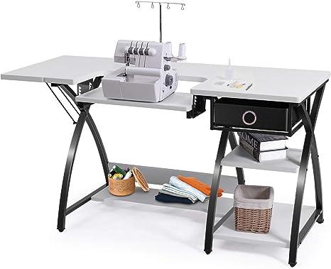 costway Home Interior ajustable de costura Craft máquina de coser resistente para ordenador de mesa con cajón y Shleves: Amazon.es: Juguetes y juegos