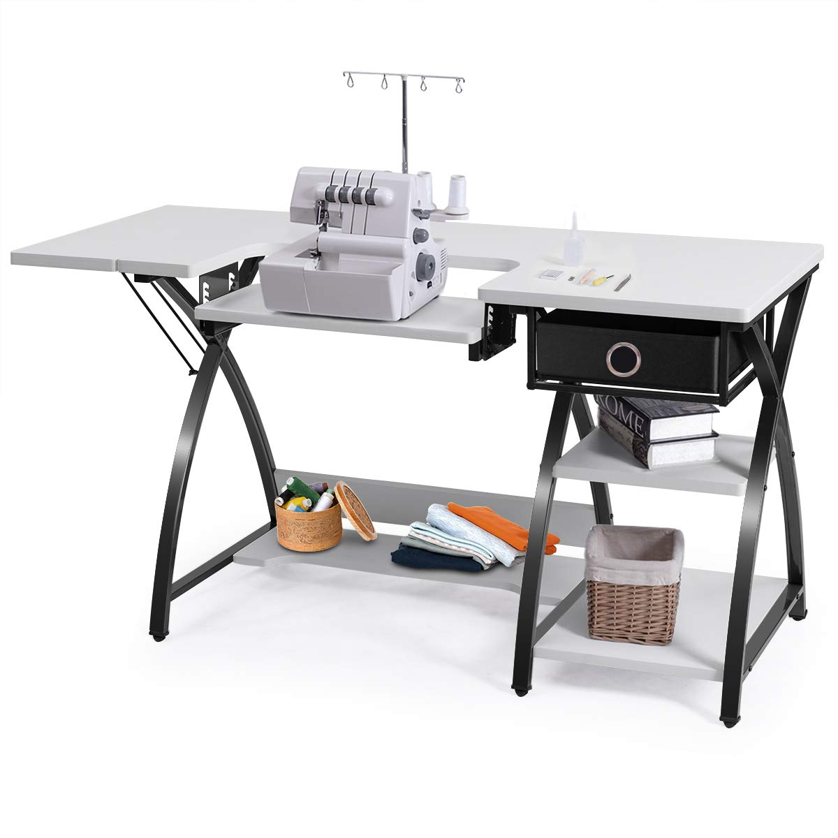 Costway Home Indoor Adjustable Sewing Craft Table Sewing Machine Sturdy Computer Desk with Drawer & Shleves (with Drawer) by COSTWAY