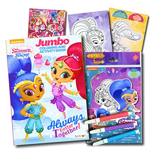 Free Shipping Shimmer Shine Coloring Book With Stickers Take N Play Set