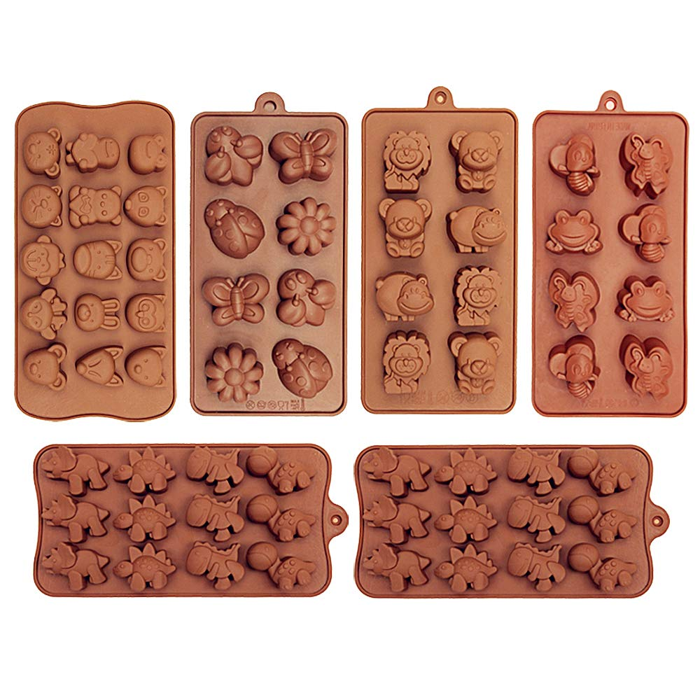 6 Pack Silicone Baking Molds, Dinosaur Chocolate Mold, Forest Theme Animal Mould with Shape of Dinosaur,Bear,Lion,Bee,Butterfly,frog,fox Etc food grade molds for Cake Candy Chocolate Jelly Ice Cube Sm by MOMOONNON