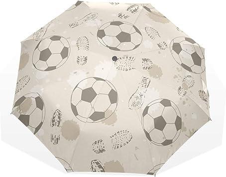EZIOLY - Paraguas de Viaje con Huella de fútbol y balón de fútbol ...