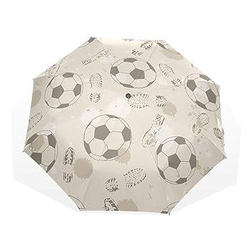 EZIOLY - Paraguas de Viaje con Huella de fútbol y balón de fútbol, Ligero,