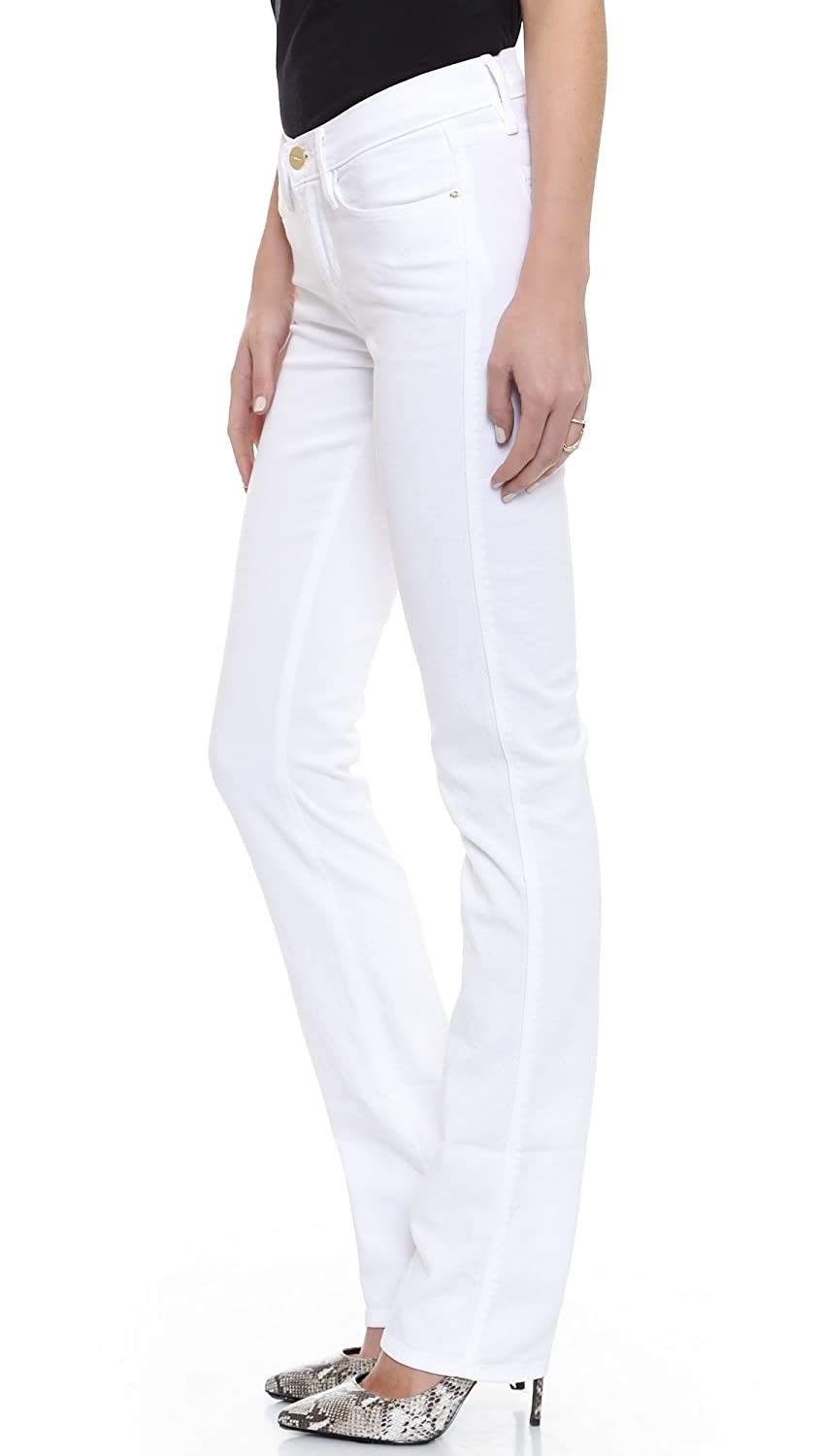 Frame Denim Jeans Le High Straight In Blanc