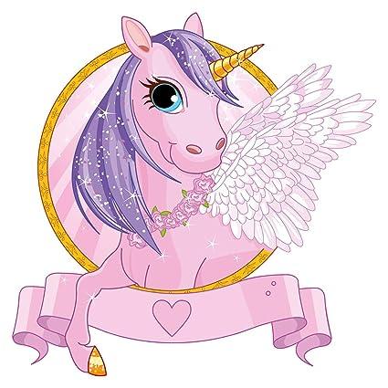 Pegatina de pared Pegatina para la pared del cuarto de las niñas Unicornio rosa con alas