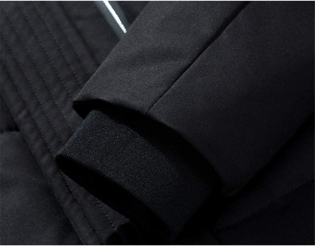 DYHQQ Piumino Invernale Caldo da Uomo Piumino Imbottito da Uomo Cappotto Lungo con Cappuccio comprimibile C kYliU