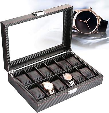 AYNEFY Caja de Vitrina para 12 Relojes, Caja de Reloj de 12 Ranuras Caja de Fibra de Carbono de Viaje Organizador de Colector de Slmacenamiento de Exhibición de Joyería de Cuero Negro: