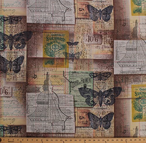 Cotton Vintage Blueprints Diagrams Newsprint Architect Drawings Butterflies Moths Sheet Music Notes Tim Holtz Eclectic Elements Melange in Multi Cotton Fabric Print by The Yard (PWTH001-8MULT)