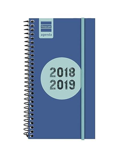 Finocam Espir Label - Agenda 2018-2019 semana vista apaisada español, 94 x 171 mm, azul cobalto