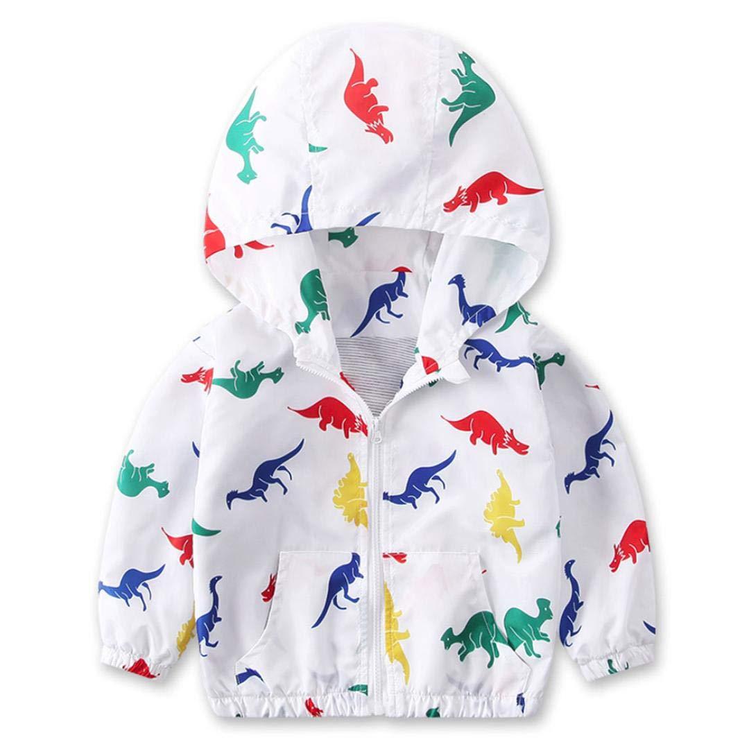 Little Kids Autumn Coat,Jchen(TM) Clearance! Infant Toddler Kids Little Boys Girls Dinosaur Print Hooded Windbreaker Coat Jacket for 1-6 Y (Age: 2-3 Years Old, White)