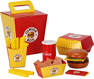 Wooden Fast Food Toy Set For Kids Burger Fries Food Play Set