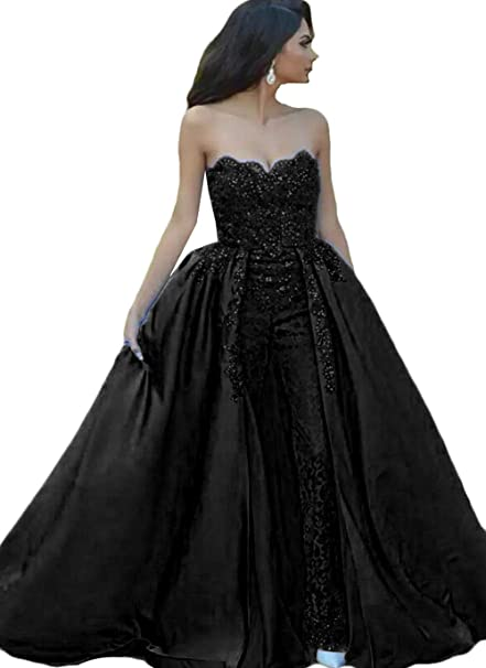 409d3779d93 Lace Jumpsuits Evening Dresses 2019 with Overskirt Appqiues Formal Prom  Quinceanera Gown at Amazon Women s Clothing store