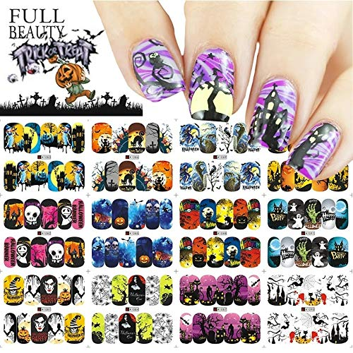 12 sets Day of the dead dia de los muertos sugar skull halloween party NAIL DECALS nightmare before Christmas eve pin up girl NAIL WRAPS gothic decor vampire decor black cat NAIL ART STICKERS -