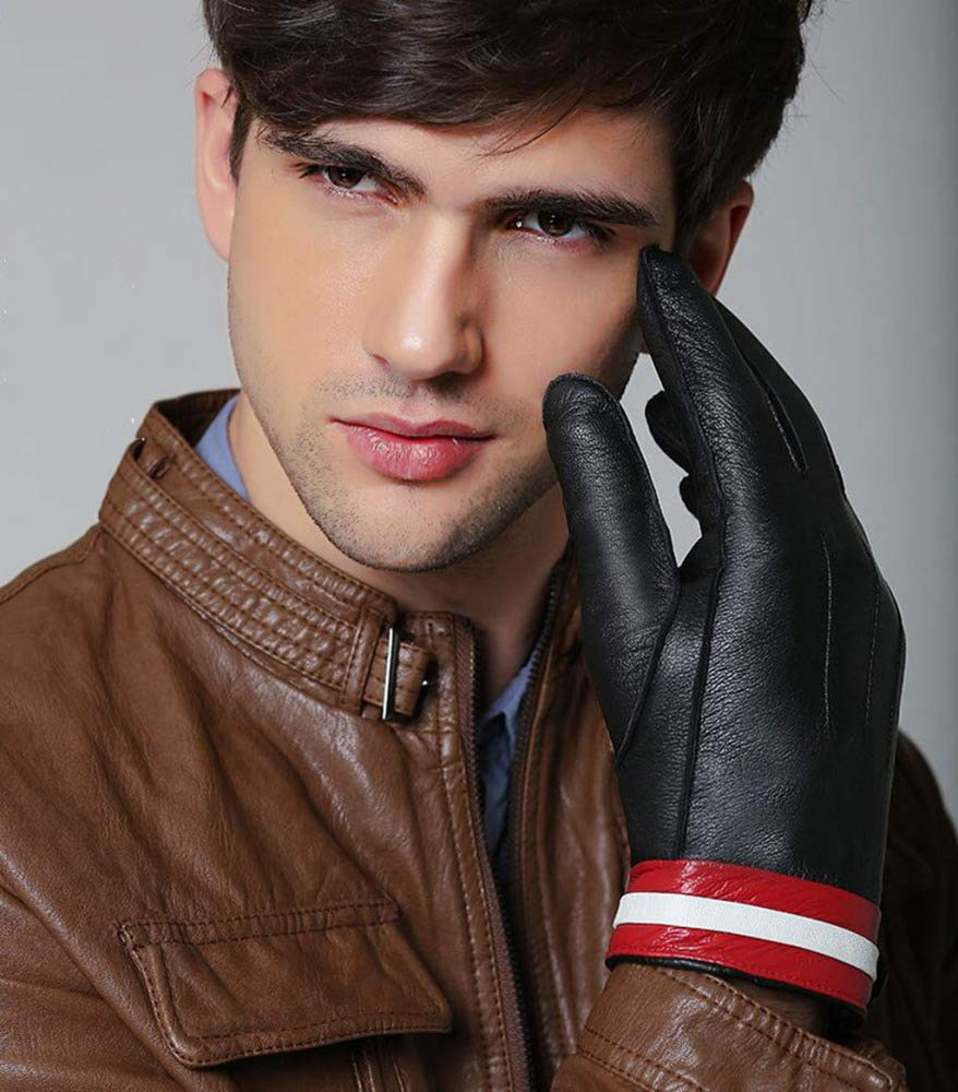 MAFYU Leather Gloves Mens Winter Warm and Velvet Thick Touch-Screen Gloves Riding Bicycle Gloves