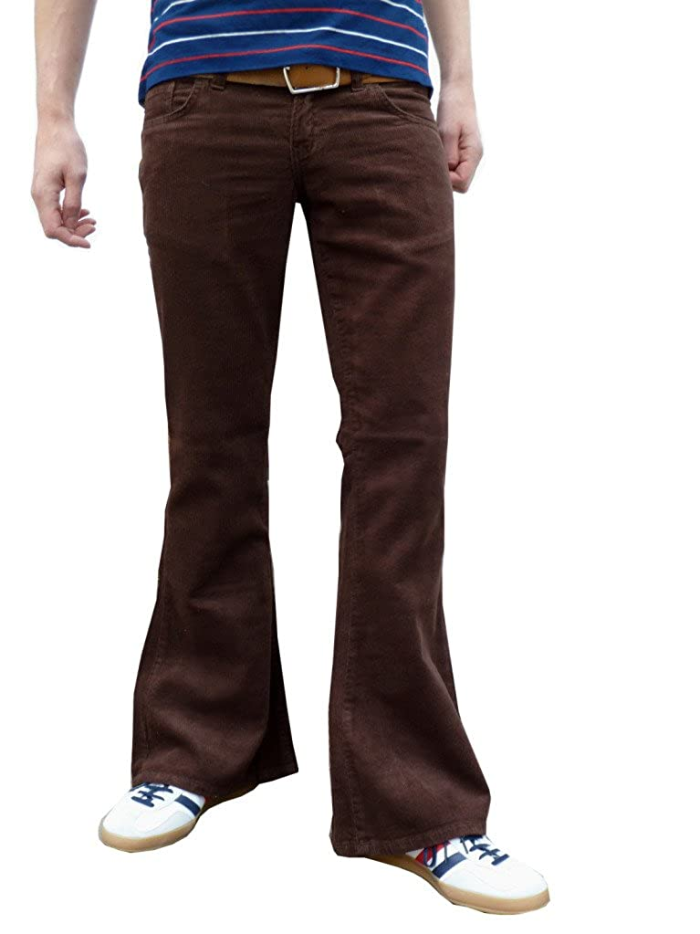 Mens Retro Brown Bell Bottoms Flares Cord Flares Vintage Pants jm331