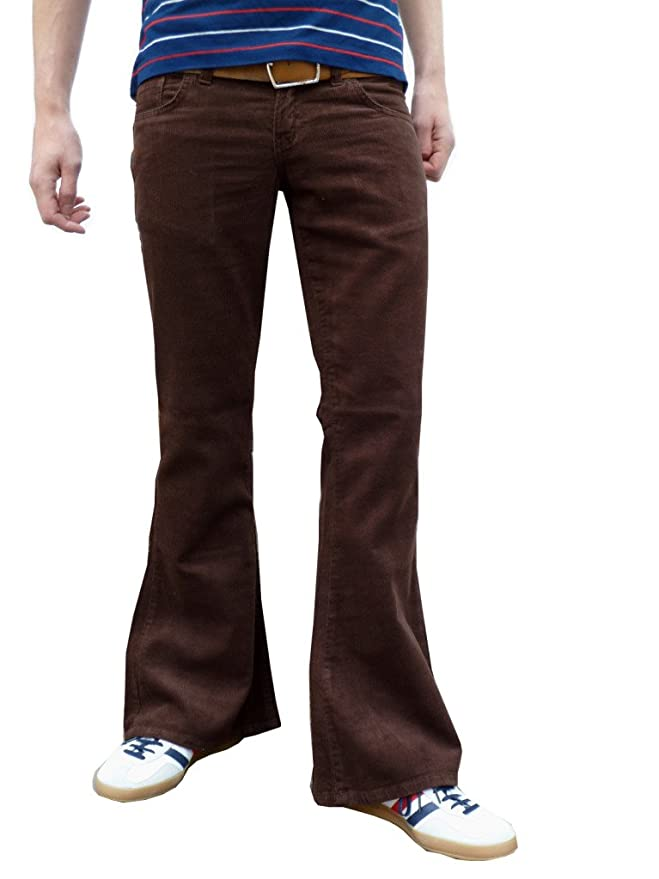 60s -70s  Men's Costumes : Hippie, Disco, Beatles Mens Retro Brown Bell Bottoms Flares Cord Flares Vintage Pants $50.60 AT vintagedancer.com