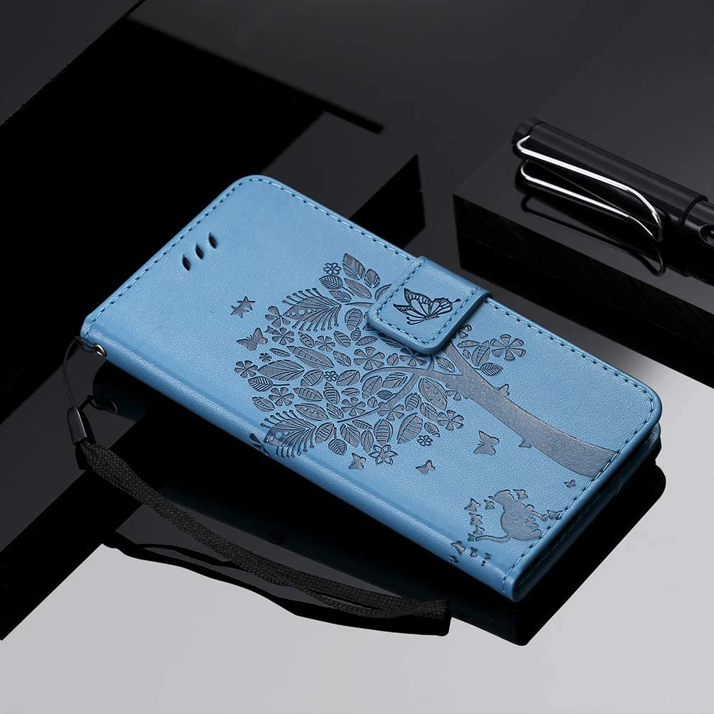 Embossed Tree PU Leather Shockproof Flip Wallet Cover with TPU Card Slots Magnetic Closure Stand Function Folio Notebook Protective Skin,Blue Vagenno Samsung Galaxy S10 Case