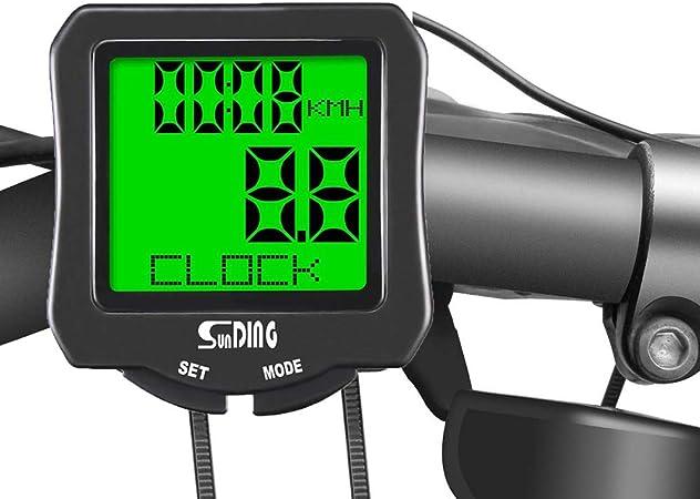 AH&Y Bicicleta Velocímetro Impermeable Bicicletas inalámbrica del Ordenador cuentakilómetros Bicicleta 3 Muestra de Idiomas con Despertador automático de retroiluminación de LCD de Pantalla: Amazon.es: Hogar