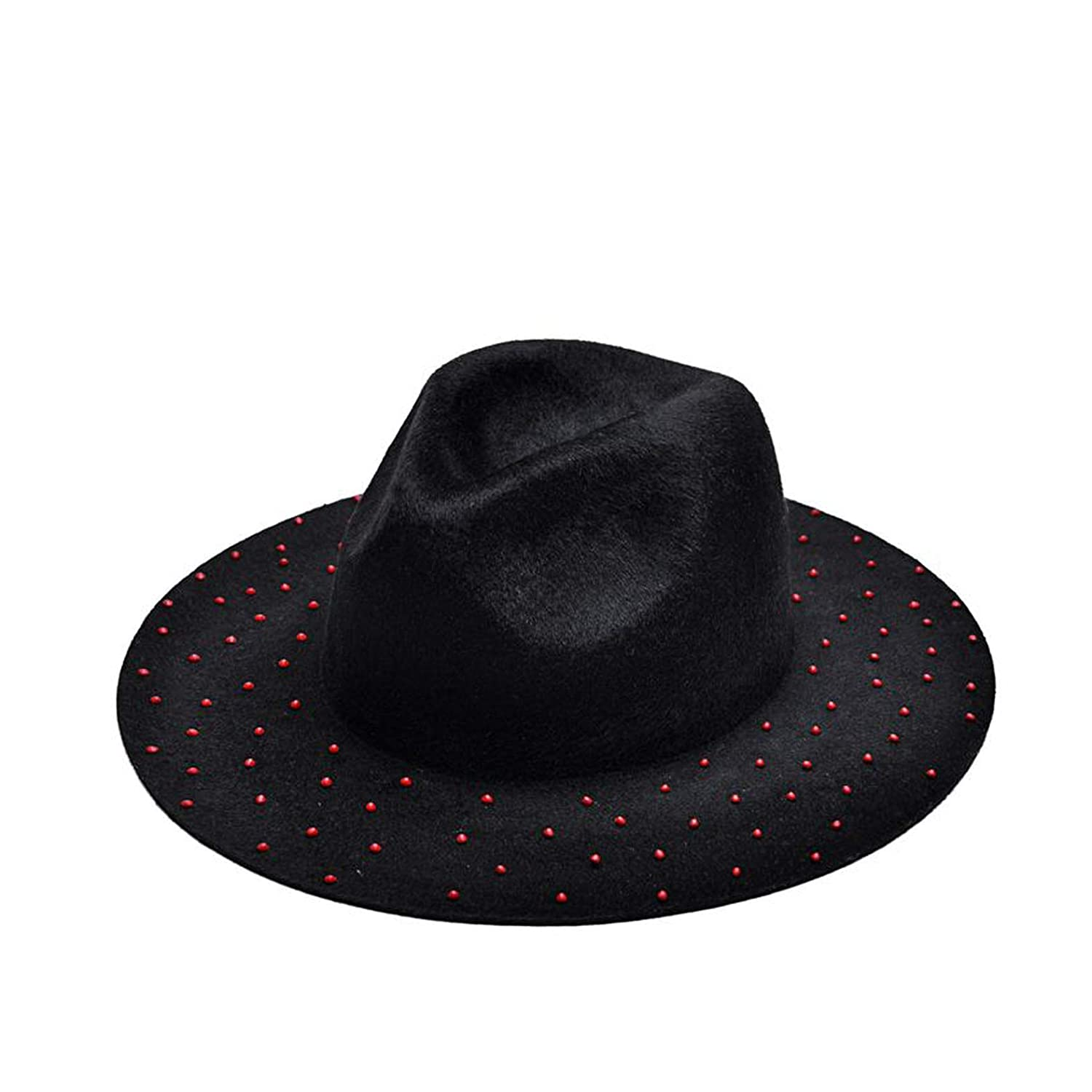 Womens Fedora Hat with Red Beads Decorated 100/% Wool Wide Brim Fedoras Hat Floppy Panama Jazz Hat for Men