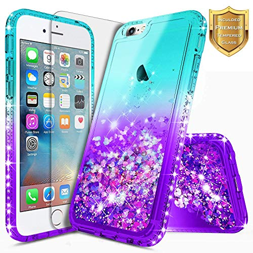 iPhone 6S Case, iPhone 6 Case w/[Tempered Glass Screen Protector], NageBee Glitter Liquid Quicksand Waterfall Floating Flowing Sparkle Shiny Bling Diamond Girls Cute Case -Aqua/Purple
