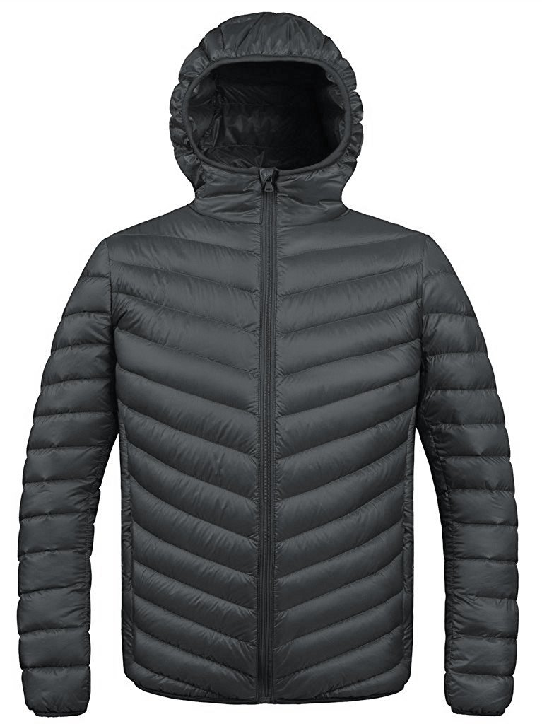ZSHOW Men's Winter Packable Down Jacket With Hood Coat(Dark Grey, X-Small) by ZSHOW