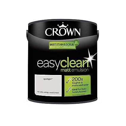 2 5l Crown Easy Clean Matt Emulsion Paint Stain Scrub Resistant Formula Spotlight