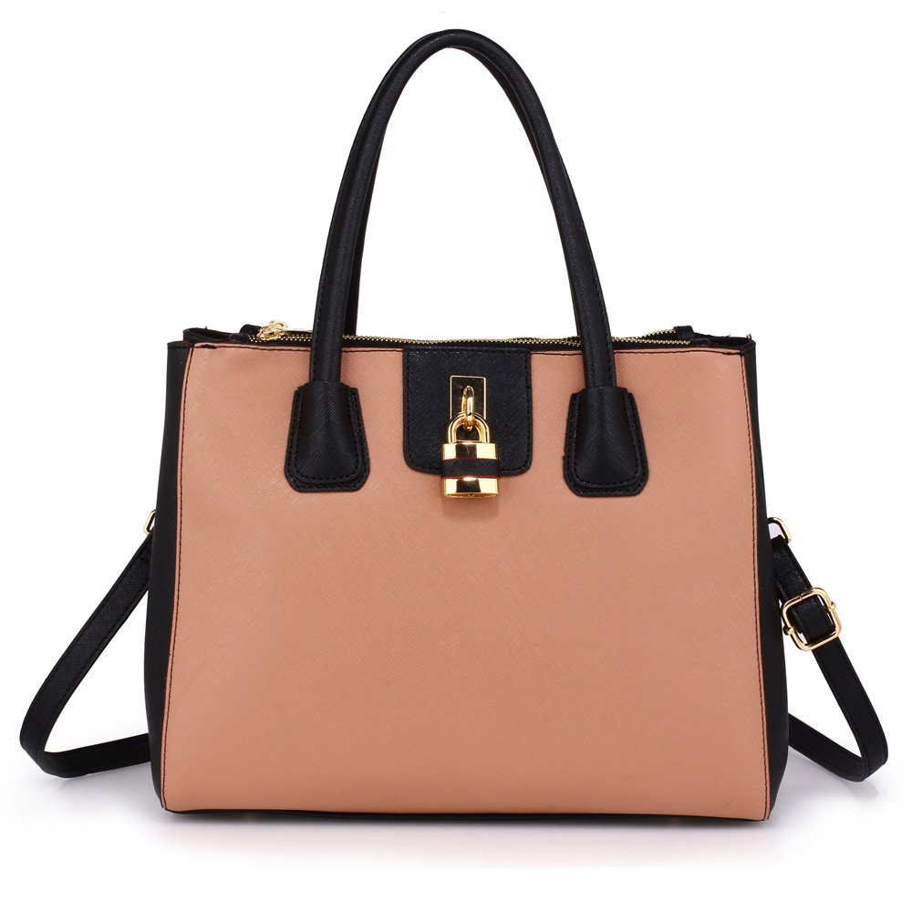 e065a3879458 Tote Shoulder Handbags Ladies Faux Leather Handbags Large Womens Designer Bags  Tote Shoulder Top Handle Stylish Bags (A - Black Nude)  Amazon.co.uk  Shoes    ...