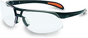 Uvex by Honeywell Protégé Safety Glasses, Metallic Black Frame with Clear Lens & Ultra-Dura Anti-Scratch Hardcoat (S4200-H5)