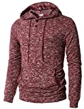 H2H Mens Casual Hoodies Button-up Pullover Long Sleeve T-Shirt Burgundy US M/Asia L