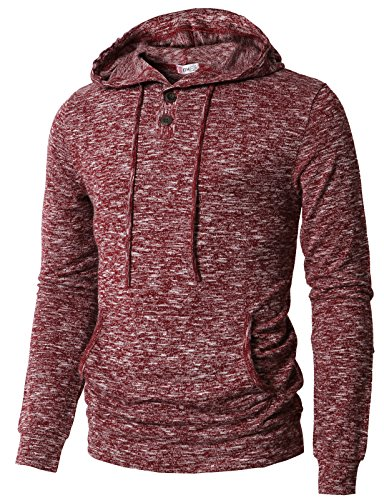 H2H Mens Casual Long Sleeve Henley Pullover Hoodie