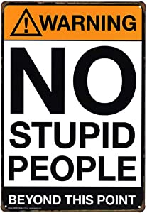 ARTCLUB Warning No Stupid People Beyond This Point Metal Tin Sign Wall Decor