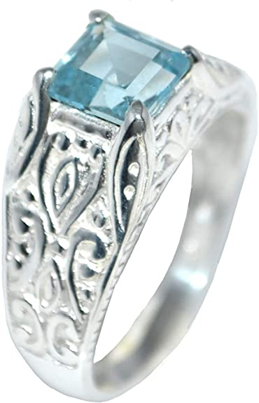 2.88 CT véritable Topaze Bleue Gemme Mariage nuptiale Bague en argent sterling 925